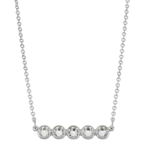 """Forever Last 14kt white Gold Overlay 18"""" 5 CZ Purple crystals Necklace"""