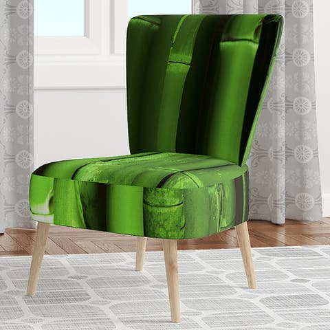 Designart 'Green Bamboo Forest' Upholstered Floral Accent Chair