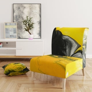 Designart 'Yellow, White and Black Marbled Acrylic' Upholstered Modern Accent Chair