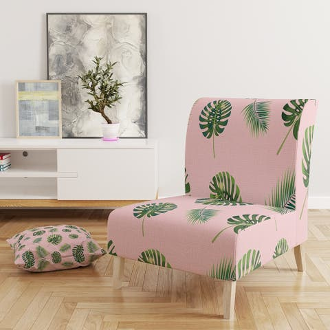 Designart 'Palm Tropical Leaves Pattern.' Upholstered Mid-Century Accent Chair