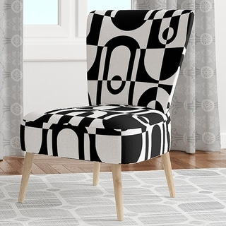 Designart 'Monochrome Geometric Pattern VIII' Upholstered Mid-Century Accent Chair