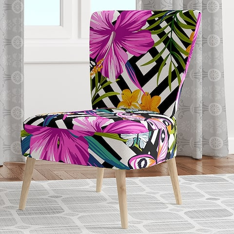 Designart 'Tropical Foliage and Geometrics' Upholstered Mid-Century Accent Chair