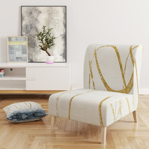 Designart 'Gold Abstract Geometric Shape' Upholstered Modern Accent Chair