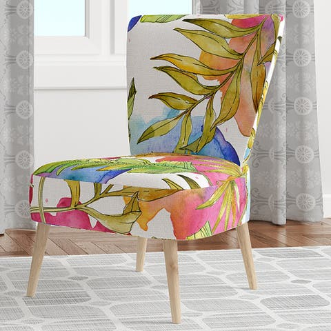 Designart 'Tropical Foliage IV' Upholstered Mid-Century Accent Chair