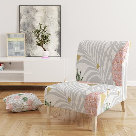 Designart 'Pineappple On Tropical Leaves' Upholstered Mid-Century Accent Chair