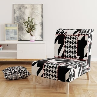 Designart 'Classic Houndstooth Pattern' Upholstered Mid-Century Accent Chair