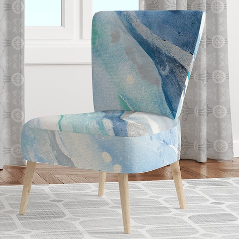 Designart 'Blue Silver Spring II' Upholstered Modern Lake House Accent Chair