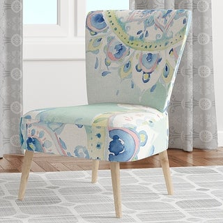 Designart 'Watercolor Mandalas IV' Upholstered Floral Accent Chair