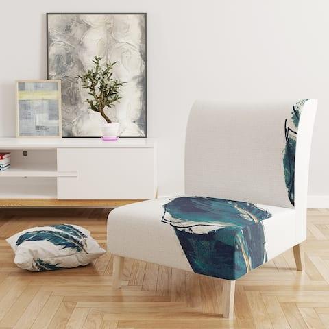 Designart 'Gold Indigo Feathers III' Upholstered Modern Bohemian Accent Chair