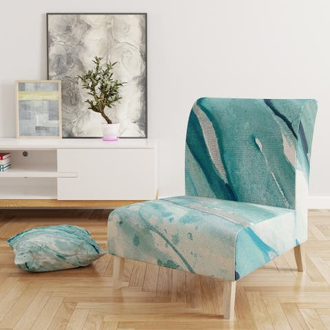 Designart 'Silver Springs I Blue Green' Upholstered Nautical & Coastal Accent Chair