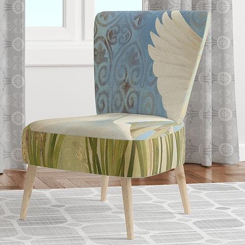Designart 'Snowy Egret in Flight VII' Upholstered Farmhouse Accent Chair
