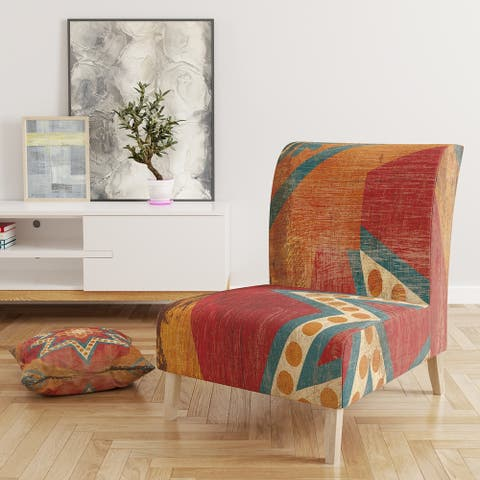 Designart 'Moroccan Orange Tiles Collage I' Upholstered Bohemian Chic Accent Chair