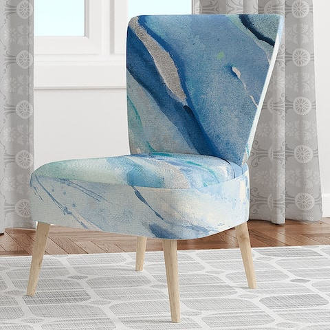 Designart 'Blue Silver Spring I' Upholstered Modern Lake House Accent Chair