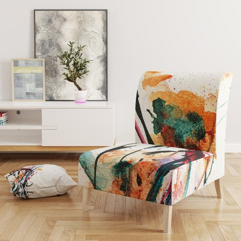 Designart 'Abstract Orange Flowers' Upholstered Traditional Accent Chair