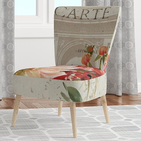 Designart 'Red Painted Flowers On VIntage Postcard III' Upholstered Farmhouse Accent Chair