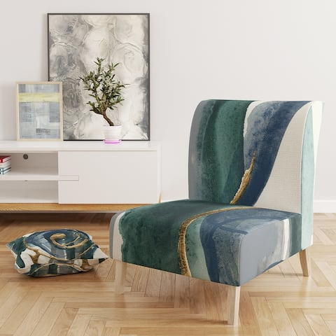 Designart 'Mettalic Indigo and Gold I' Upholstered Glam Accent Chair
