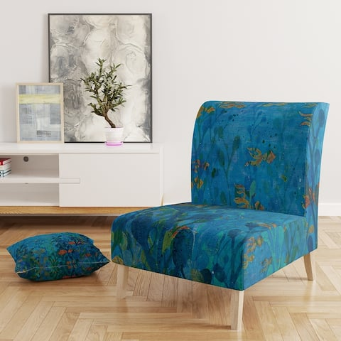 Designart 'Blue Underwater Lake Leaves I' Upholstered Nautical & Coastal Accent Chair
