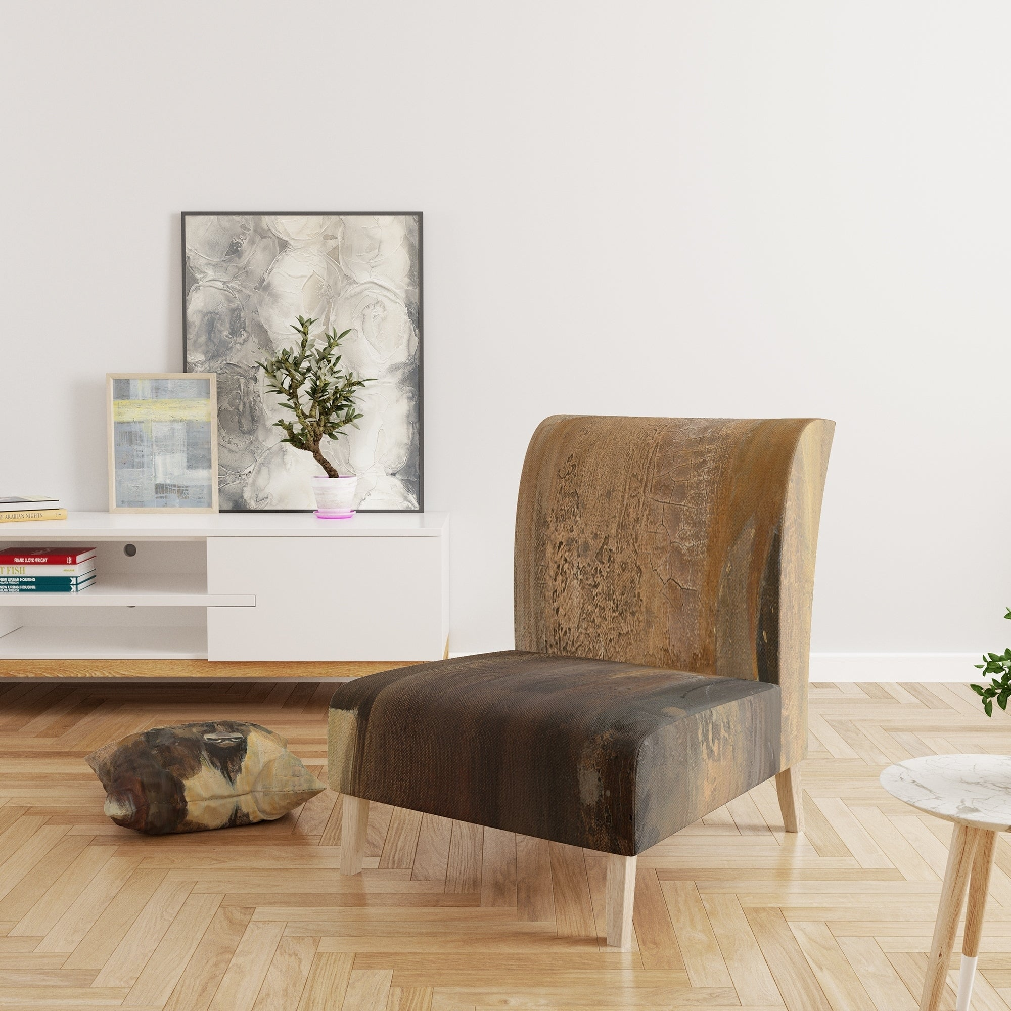 Designart Into The Wild Gold Buffalo Upholstered Modern Farmhouse Accent Chair