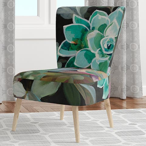 Designart 'Floral Succulents' Upholstered Traditional Accent Chair