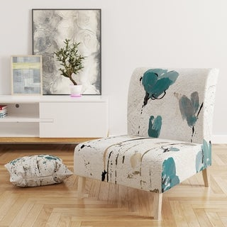 Designart 'Fields Of Turquoise Watercolor Flower II' Upholstered Traditional Accent Chair