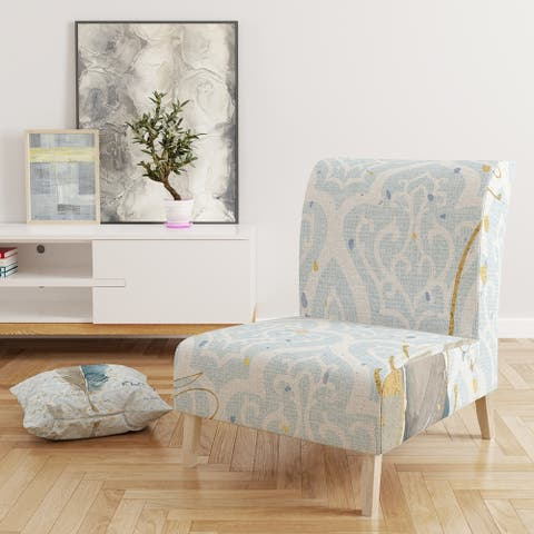 Designart 'Fields of Gold Watercolor Flower IV' Upholstered Traditional Accent Chair