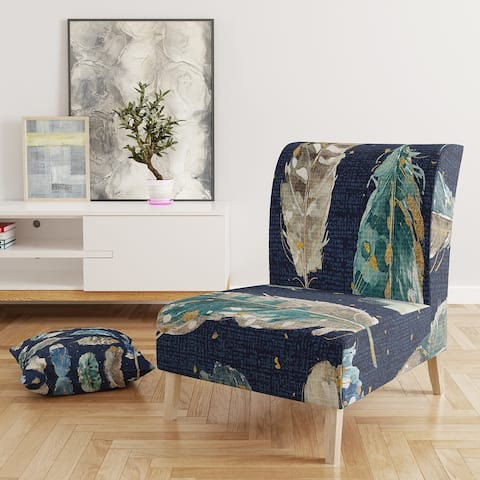 Designart 'Indigold Metallic Feathers Pattern' Upholstered Floral Accent Chair