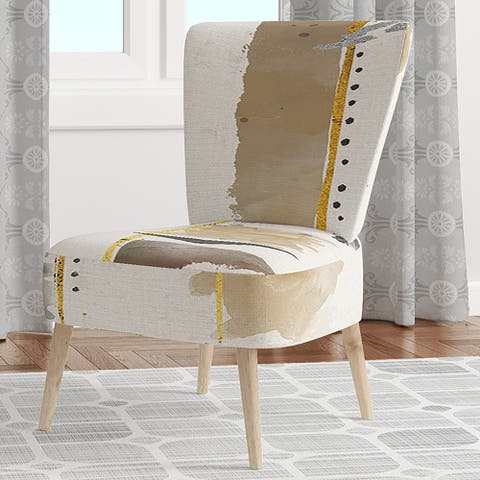 Designart 'Abstract Gold Birch Trees I' Upholstered Modern Accent Chair