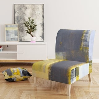 Designart 'Grey and Yellow Blur Abstract' Upholstered Mid-Century Accent Chair