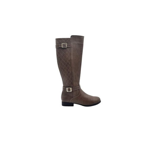 Via Rosa Womens Tall Knee High Dress Boots with Quilted Back Shaft