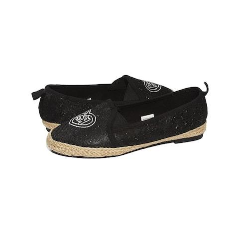 bebe Girls Big Kid Beachy Slip-On Loafer Flat Glitter Mesh Shoe