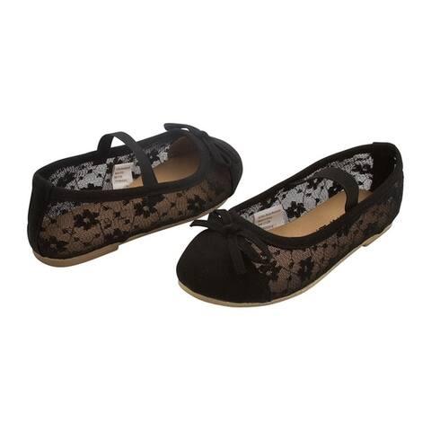Sara Z Toddler Girls Openwork Slip On Ballet Flat Shoes Elastic Arch