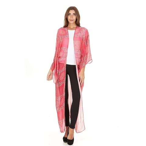 Laundry by Shelli Segal Women Sheer Loose Kimono Cardigan Cape Blouse