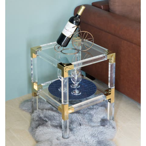 Square Acrylic Gold Metal Modern End Side Table with Tempered Glass Shelf