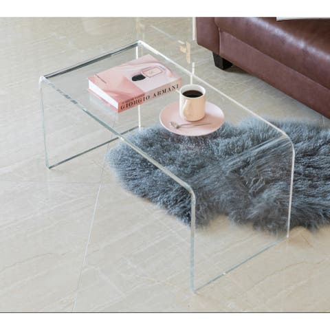 Modern Rectangular Acrylic Waterfall Modern Coffee Table