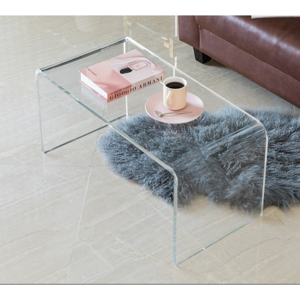 Modern Rectangular Acrylic Waterfall Modern Coffee Table. Opens flyout.