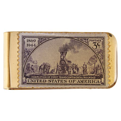 American Coin Treasures Brass Train Stamp Money Clip - Gold