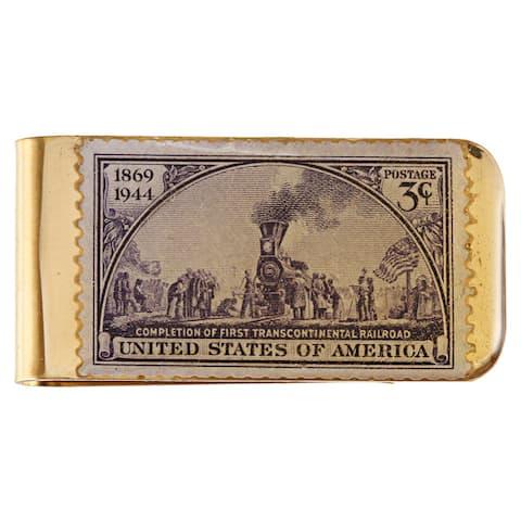 American Coin Treasures Brass Train Stamp Money Clip