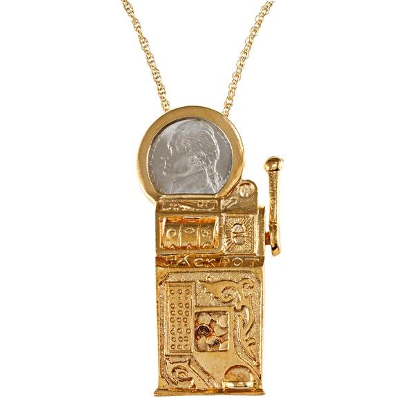 American Coin Treasures Slot Machine Pin/ Pendant with Jefferson Nickel