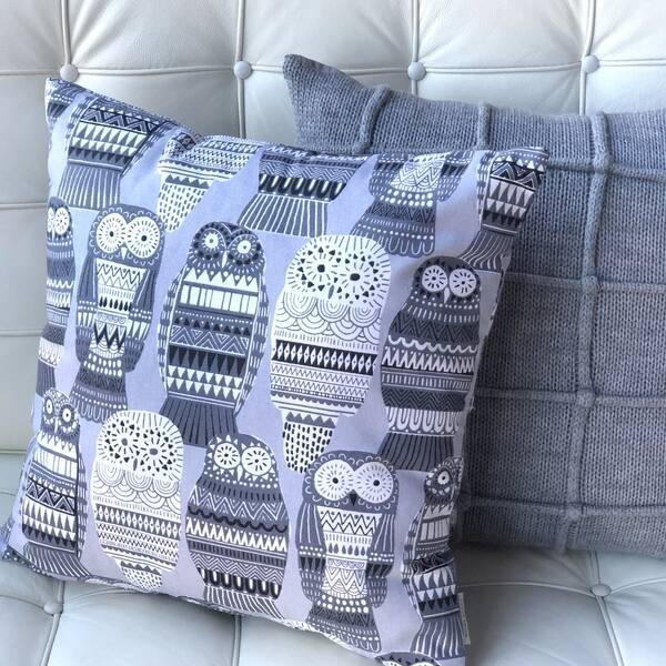 Pillow Decor Midnight Owl Cotton Print Throw Pillow 17x17 Overstock 30362126