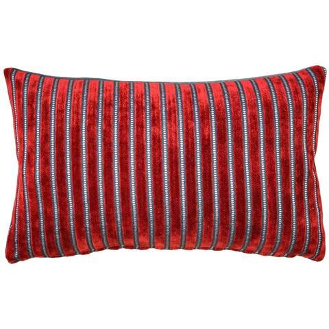 Pillow Decor - Rockefeller Lava Red Velvet Throw Pillow 12x20