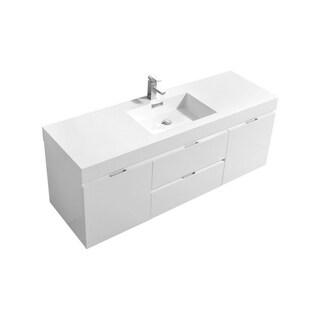 "Bliss 60"" High Gloss White Wall Mount Single Sink Modern Bathroom Vanity"