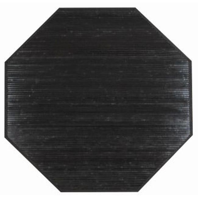 Handmade Black Rayon from Bamboo Rug (3' Octagonal)