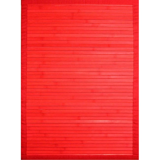 Handmade Red Rayon from Bamboo Rug (8' x 10')