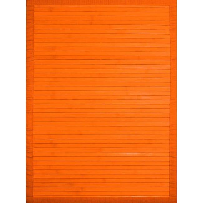 Handmade Orange Rayon from Bamboo Rug (5' x 7')