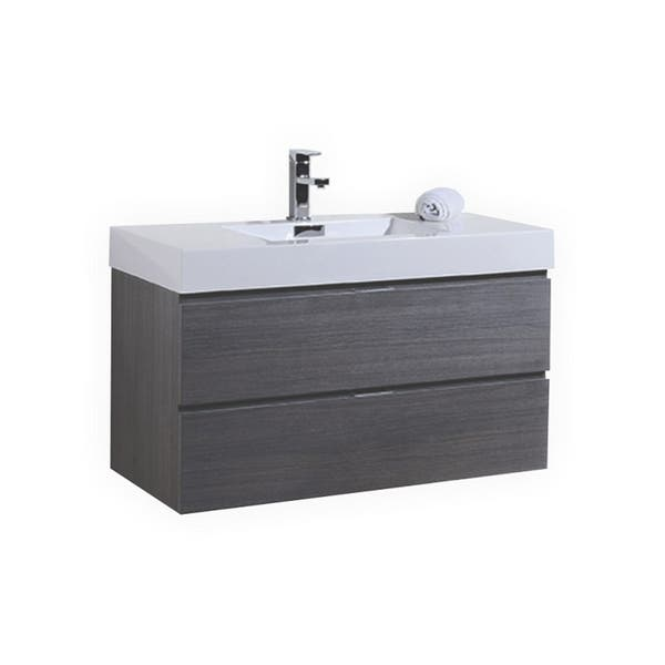 Bliss 40 Gray Oak Wall Mount Modern Bathroom Vanity Overstock 30363026