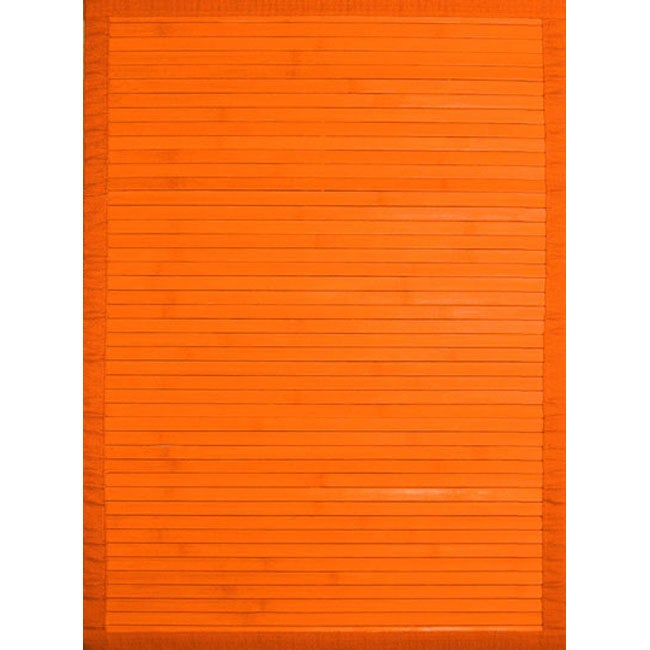 Bamboo Rug Runner: Handmade Orange Rayon From Bamboo Runner (2' X 7')