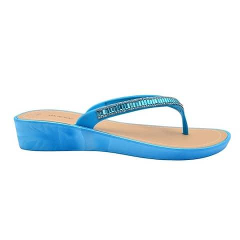 Via Rosa Ladies Sandal PCU Wedge Heel Slip On Thong Strap Shoe