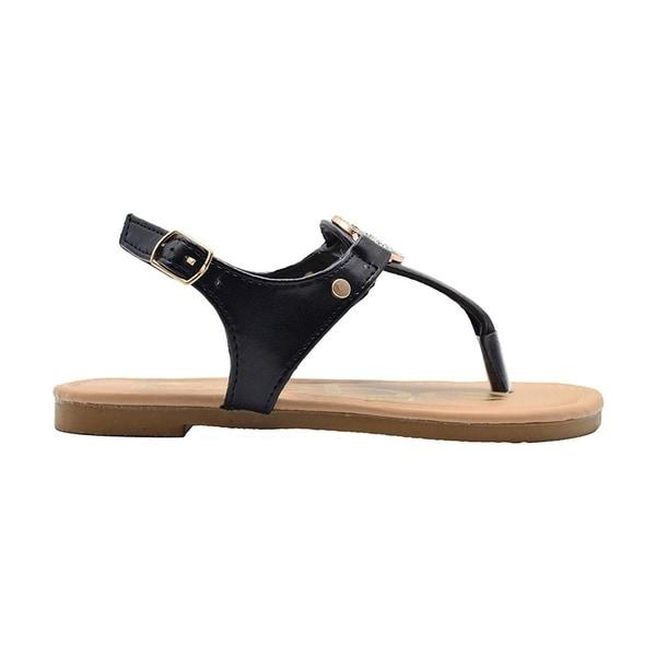 bebe Girls T-Strap PCU Sandal with Rhinestone Strap Little Kid Dress Slip On Summer Shoe