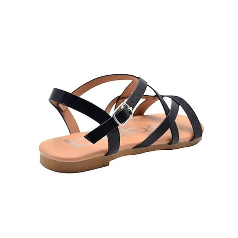 bebe Girls Fashion Sandals Summer Flats with Glitter Front Strap