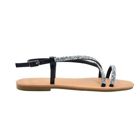 Via Rosa Ladies Fashion Sandals Slingback Pu Flats with Rhinestones